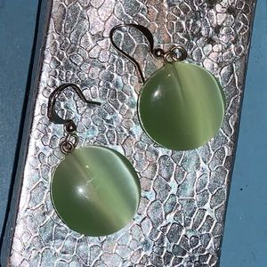 Green round hook style earrings